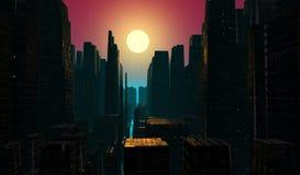 Crépuscule de ville Photographie stock libre de droits