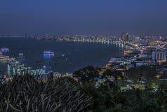 Crépuscule de ville de Pattaya Images stock