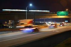 Crépuscule du trafic de banlieusard, Vancouver Photo stock