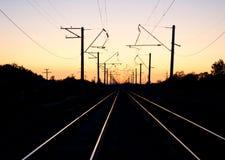 Crépuscule et chemin de fer Photos stock