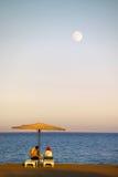 Crépuscule par la Mer Rouge Images libres de droits
