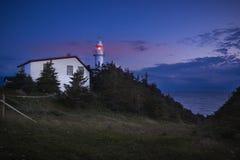 Crépuscule, phare de tête de crique de homard images libres de droits