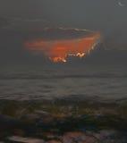 Crépuscule sur la mer Photo stock
