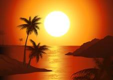 Crépuscule sur la plage Image stock