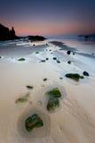 Crépuscule sur la plage de la La Franca Image libre de droits