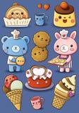 Crême de gâteau et glacée mignonne illustration stock