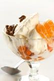 Crême glacée avec la mandarine et les noix image libre de droits