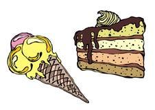 Crême glacée et gâteau d'isolement Photographie stock libre de droits