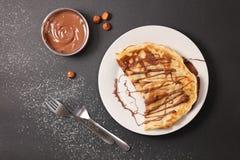 Crêpe con cioccolato immagine stock