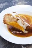 Crêpe con il sorbetto arancio Fotografia Stock