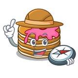 Crêpe d'explorateur avec la bande dessinée de mascotte de fraise illustration stock