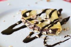 Crêpe de chocolat du plat Photographie stock libre de droits