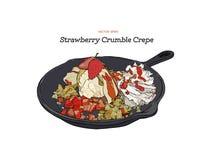 Crêpe de glace de fraise avec le service de croustillant dans la casserole Attraction de main illustration libre de droits