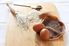 Crêpe del cioccolato con gli ingredienti immagini stock libere da diritti