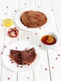 Crêpe del cioccolato con la farina d'avena Fotografie Stock Libere da Diritti