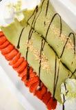Crêpe del gelato del tè verde Immagini Stock