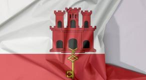 Crêpe e piega della bandiera del tessuto di Gibilterra con spazio bianco immagine stock libera da diritti