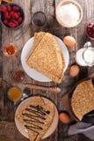 Crêpe et ingrédient Photo libre de droits