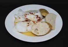 Crêpe mince cuite à la vapeur de riz - nourriture de spécialité du Vietnam images libres de droits