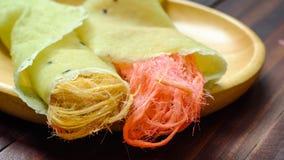 Crêpe thaïlandaise de burrito de sucrerie de coton Photographie stock