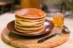 Crêpes américaines de petit déjeuner Photo stock