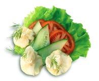 Crêpes avec des champignons de couche et des légumes   Photographie stock