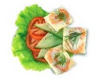 Crêpes avec des crevettes et des légumes   Images stock