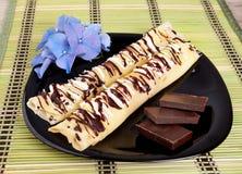 Crêpes avec du chocolat Photographie stock
