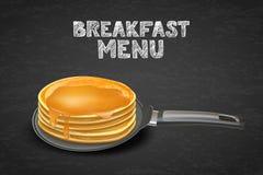 Crêpes avec du miel ou le sirop d'érable sur la casserole, illustration de vecteur Concevez pour le menu de dessert de petit déje Image stock