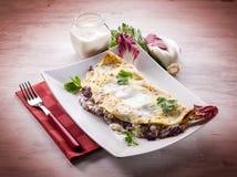 Crêpes avec la chicorée et le fromage Photo libre de droits