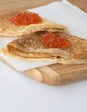 Crêpes avec le caviar Photo libre de droits