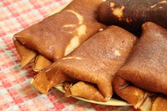 Crêpes chaudes pour le déjeuner Image stock
