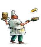 Crêpes de cuisson de Baker Photographie stock