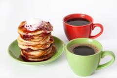Crêpes et café pour le déjeuner Photographie stock libre de droits