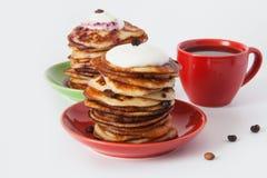 Crêpes et café pour le déjeuner Photographie stock