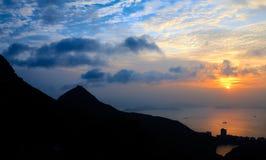 Crête d'île de Hong Kong au suset Photo libre de droits