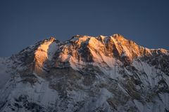 Crête de montagne d'Annapurna I, 10ème plus haute montagne au monde, H Image stock