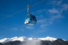 Crêtes de carlingue et de neige de funiculaire de Bansko, Bulgarie Images libres de droits