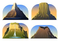 Crêtes de montagnes, paysage tôt dans une lumière du jour, grand ensemble le volcan, Matterhorn, roraima, le Vésuve, diables domi illustration libre de droits
