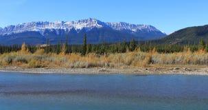 Crêtes de Rocky Mountain avec la rivière d'Athabasca dans le premier plan Images stock