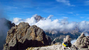 Crêtes de Tre Cime di Lavaredo, montagnes d'Alpes de Dolomit Photographie stock