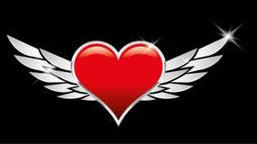 Crêtes rouges d'amour de coeur avec des ailes Images stock
