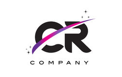CR C R Black Letter Logo Design with Purple Magenta Swoosh. And Stars Stock Images