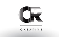 CR C R Black and White Lines Letter Logo Design. CR C R Black and White Letter Logo Design with Vertical and Horizontal Lines Stock Photo