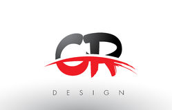 CR C R Brush Logo Letters with Red and Black Swoosh Brush Front. CR C R Brush Logo Letters Design with Red and Black Colors and Brush Letter Concept Stock Images