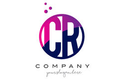 CR C R Circle Letter Logo Design with Purple Dots Bubbles. CR C R Circle Letter Logo Design with Purple Magenta Dots Bubbles Vector Illustration Royalty Free Stock Images