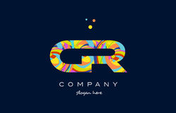 Cr c r colorful alphabet letter logo icon template vector. Cr c r alphabet letter logo colors colorful rainbow acrylic font creative text dots company vector Royalty Free Stock Photo