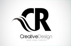 CR C R Creative Brush Black Letters Design With Swoosh. CR C R Creative Modern Black Letters Logo Design with Brush Swoosh Stock Image