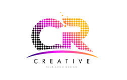 CR C R Letter Logo Design with Magenta Dots and Swoosh. CR C R Dots Letter Logo Design with Magenta Bubble Circles and Swoosh Royalty Free Stock Photos