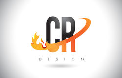 CR C R Letter Logo with Fire Flames Design and Orange Swoosh. CR C R Letter Logo Design with Fire Flames and Orange Swoosh Vector Illustration Royalty Free Stock Photo